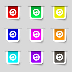 icon sign. Set of multicolored modern labels for you
