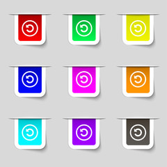 Upgrade, arrow, update icon sign. Set of multicolor