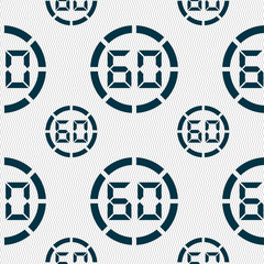 60 second stopwatch icon sign. Seamless pattern w