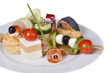 Italian appetizer menu, with meat, vegetables and rolls