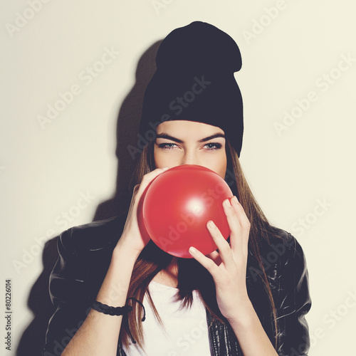 Beautiful hipster teenage girl with red balloon Poster