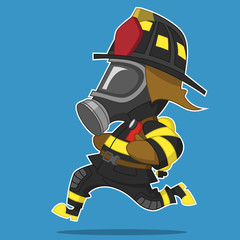 firefighter runs