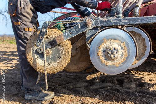 Leinwanddruck Bild Tractor reparations