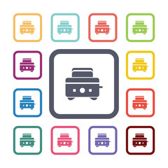 toaster flat icons set.