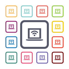 wifi laptop flat icons set