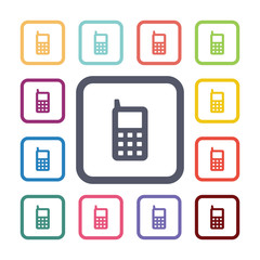 mobile phone flat icons set