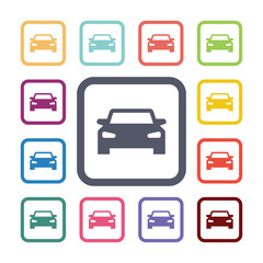 car flat icons set
