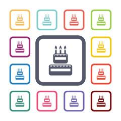cake flat icons set