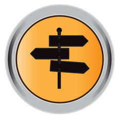 button, road, sign, flat, icon, vector, illustration