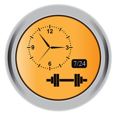 button,  barbell, gym, open, icon, vector, illustration