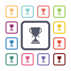cup flat icons set