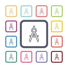 compasses flat icons set