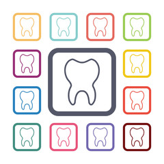 tooth flat icons set