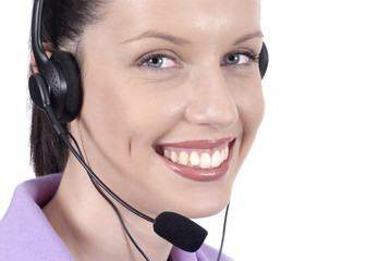 Smiling telephonist