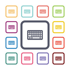 keyboard flat icons set