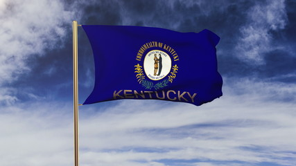 kentucky flag with title waving in the wind. Looping sun rises