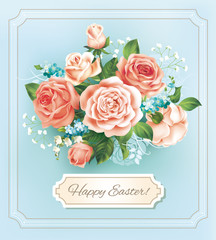 Easter vintage card with rose bouquet. Vector