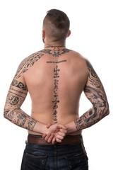 Rear View Of Back Tattooed Man