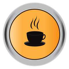 black, icon, hot, cup, flat, vector, illustration, button