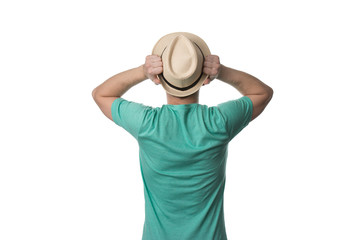 Back Rear View Male Tourist With Hat
