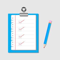 Checklist with pencil.