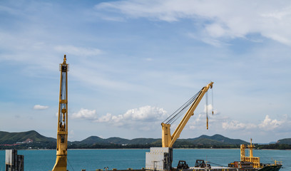 Industrial shipyard yellow crane