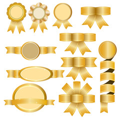 Gold Banners, Ribbons, Stickers Set - Illustration
