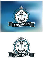 Ship anchor in round rope border