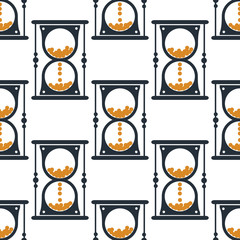 Hourglass or sandglass seamless pattern