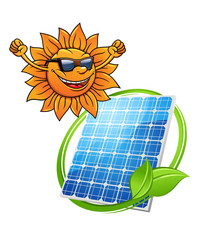 Happy sun with a photovoltaic cell