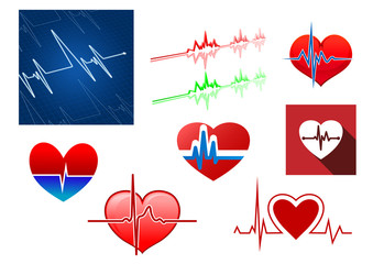 Hearts with beat frequency icons