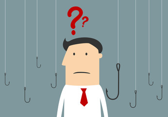 Cartoon businessman thinking between hooks