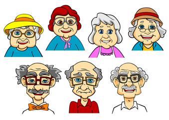 Cartoon smiling senior peoples characters