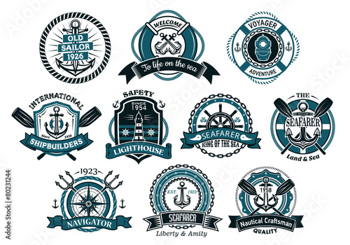 Creative seafarers or nautical logos and banners - 80231244