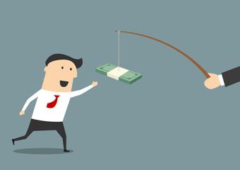 Businessman running after a bribe