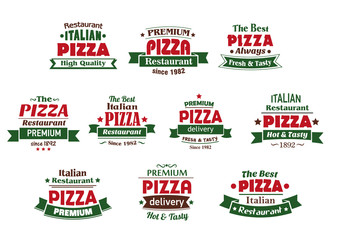 Italian premium pizza banners and labels