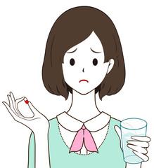 女性 薬 カプセル 困り顔