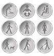Monochrome people related icon set
