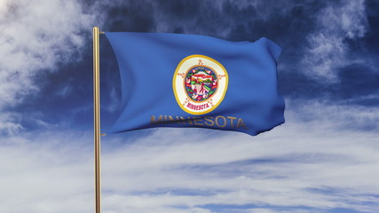 minnesota flag with title waving in the wind. Looping sun rises