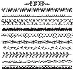 set of decorative hand drawn border
