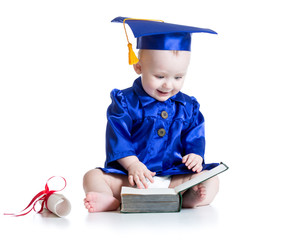 funny baby in student hat with book