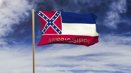 mississippi flag with title waving in the wind. Looping sun