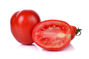 tomato with cut isolated on white background