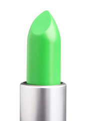 green lipstick isolated on white background