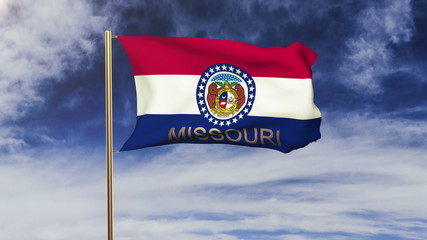 missouri flag with title waving in the wind. Looping sun rises