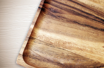 Wooden tray on table