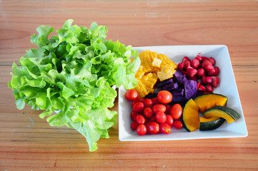 Mixed vegetable and fruit Salad.