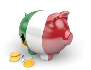 Italy economy and finance concept for national debt crisis