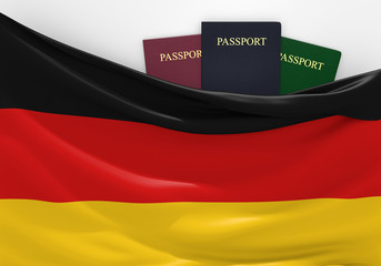 Travel and tourism in Germany, with assorted passports