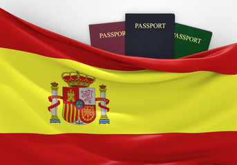 Travel and tourism in Spain, with assorted passports